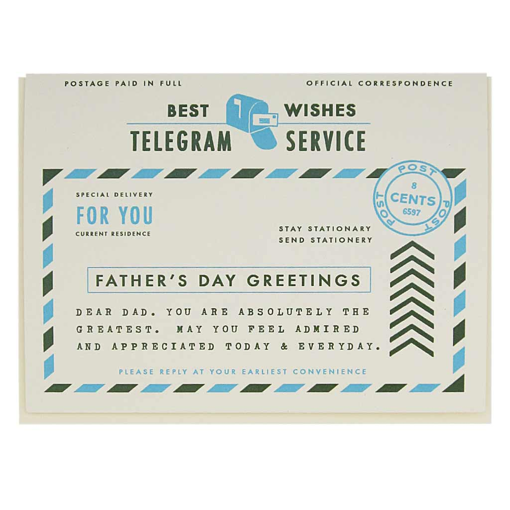 "This card looks like a vintage telegram. Let your dad know you are thinking of him with this heartfelt card. Measures 4¼"" x 5½"", comes with a cream envelope & is blank inside."