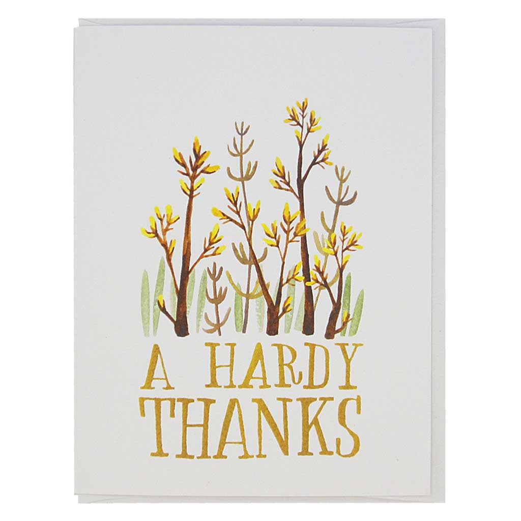 "Thank someone with this very punny card. It is a beautiful watercolour painting of some hardy flowers and hand drawn text that reads 'A Hardy Thanks'. Measures 4¼"" x 5½"", comes with a white envelope & is blank inside. Designed by The Regional Assembly of Text."