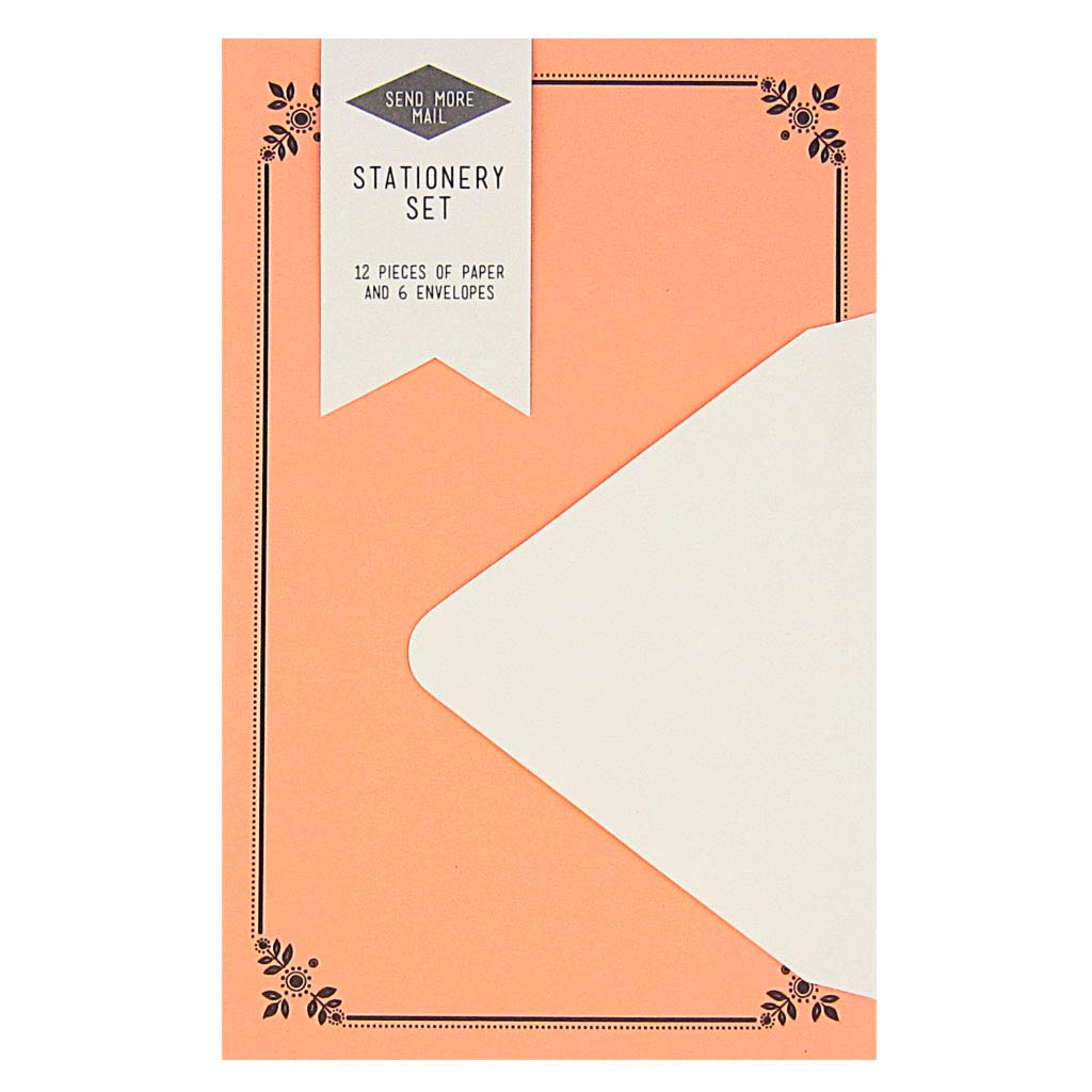 "This stationery set comes with 12 identical floral pieces of coral pink paper and 6 soft white envelopes. Paper folds in half to fit inside the 4 ¼"" x 5 ½"" envelopes."