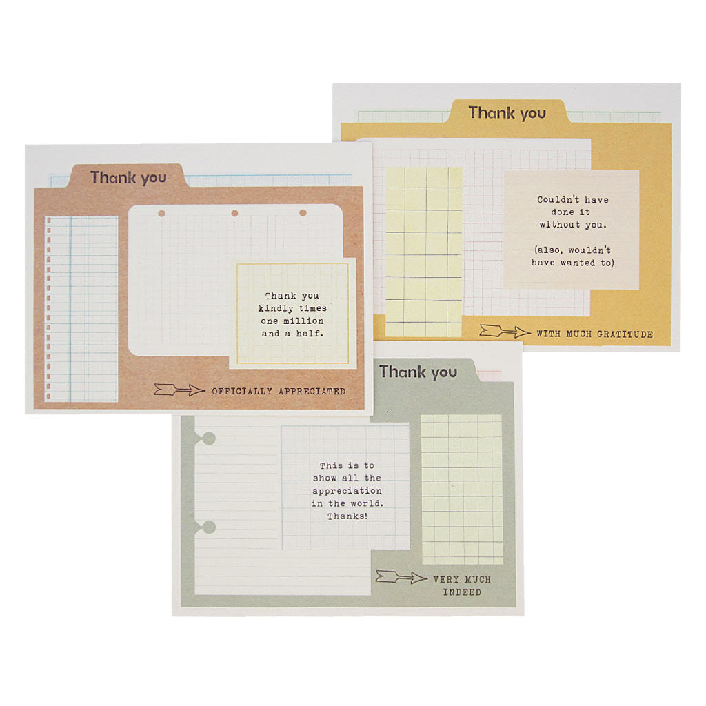 "When official thanks are in order, these cards much needed. 3 different designs that look like vintage folders with graph paper bits of paper on them and thoughtful typewritten notes of thanks on each. Boxed set contains 12 assorted cards (blank inside) & 12 white envelopes. Includes 4 of each design. Cards measure 4¼"" x 5½""."