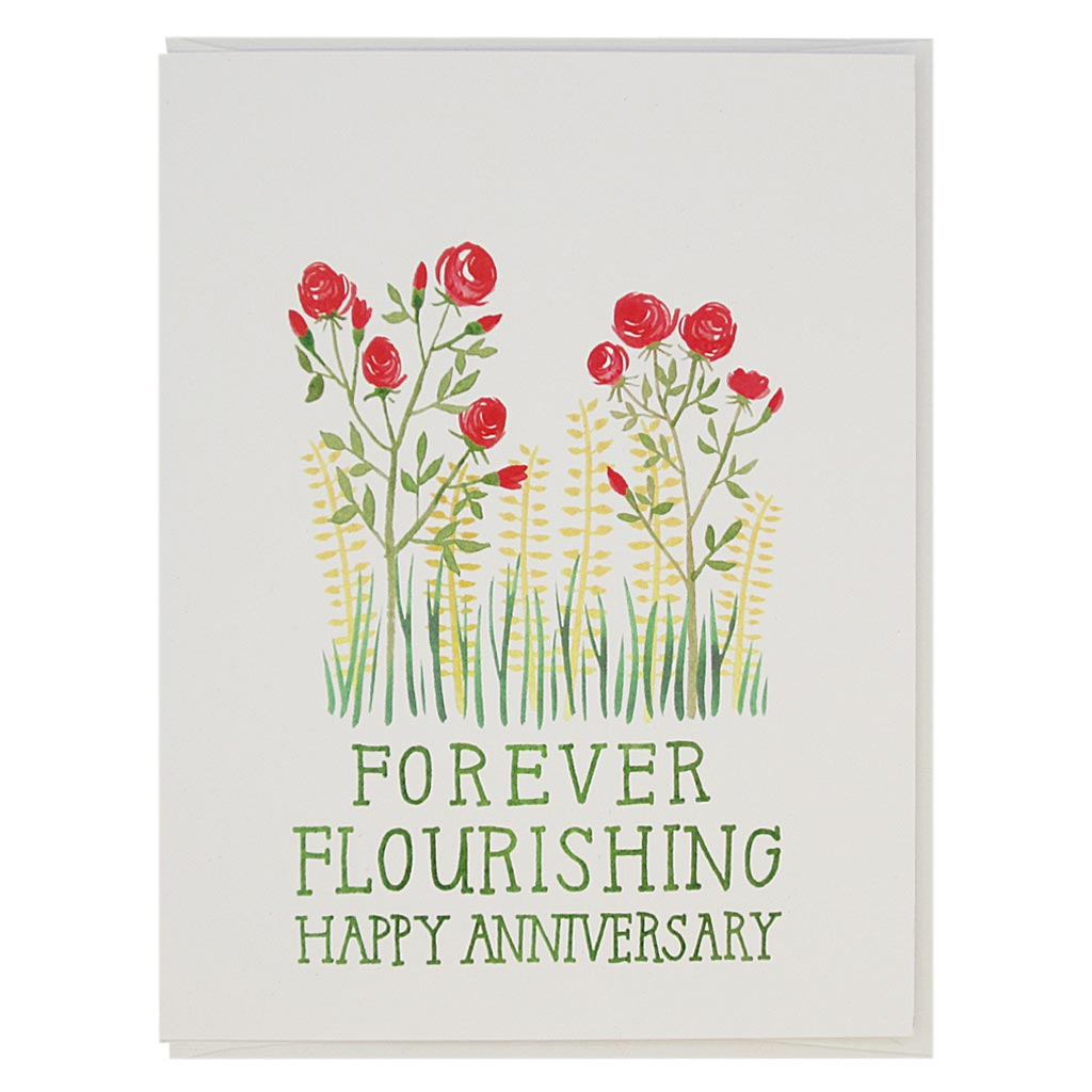 "Wish your partner or another couple a happy anniversary with these pretty roses. Features a watercolour painting of some roses with the text 'Forever Flourishing, Happy Anniversary'.Measures 4¼"" x 5½"", comes with a white envelope & is blank inside."