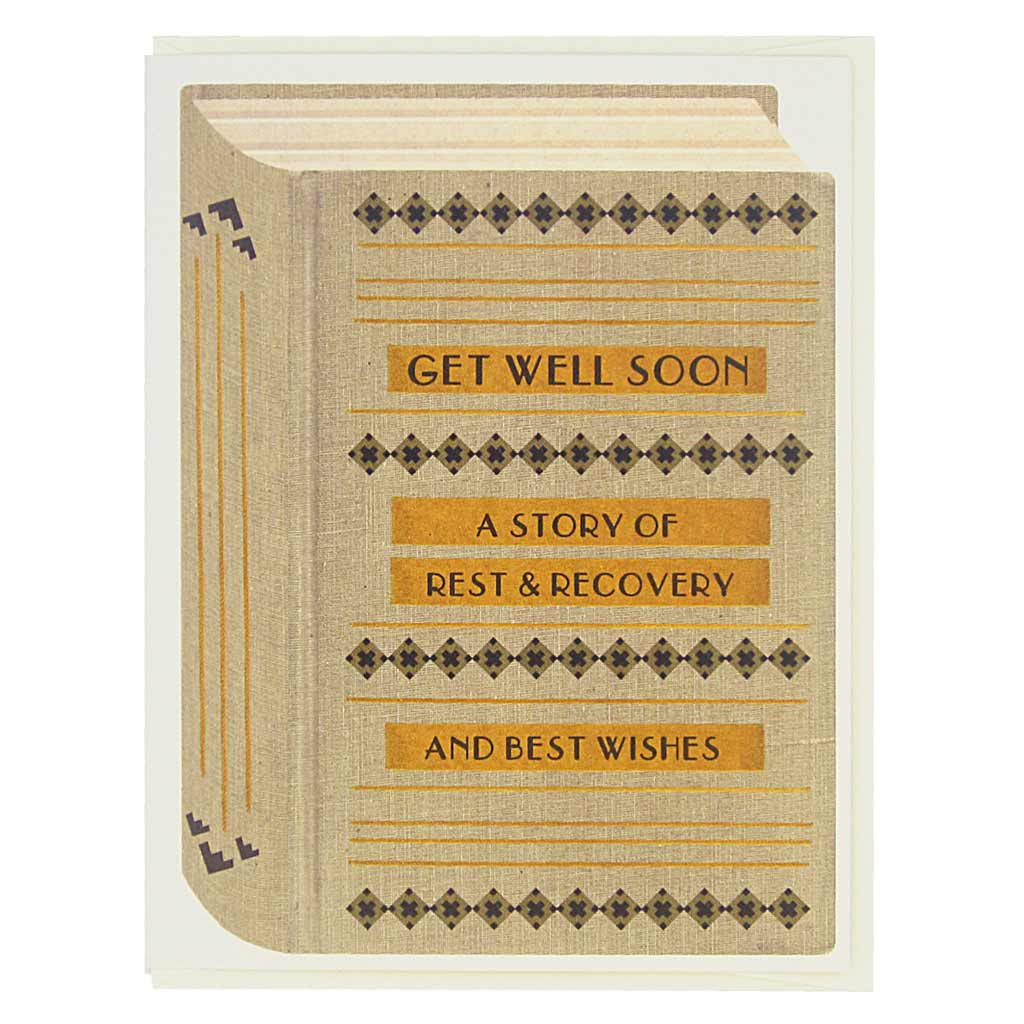 "This get well card looks like a vintage book and is perfect for all the bookworms and literary types in your life. The cover says… Get Well Soon, a Story of Rest & Recovery, and Best Wishes. Card measures 4¼"" x 5½"", comes with a cream envelope & is blank inside. Designed by The Regional Assembly of Text."