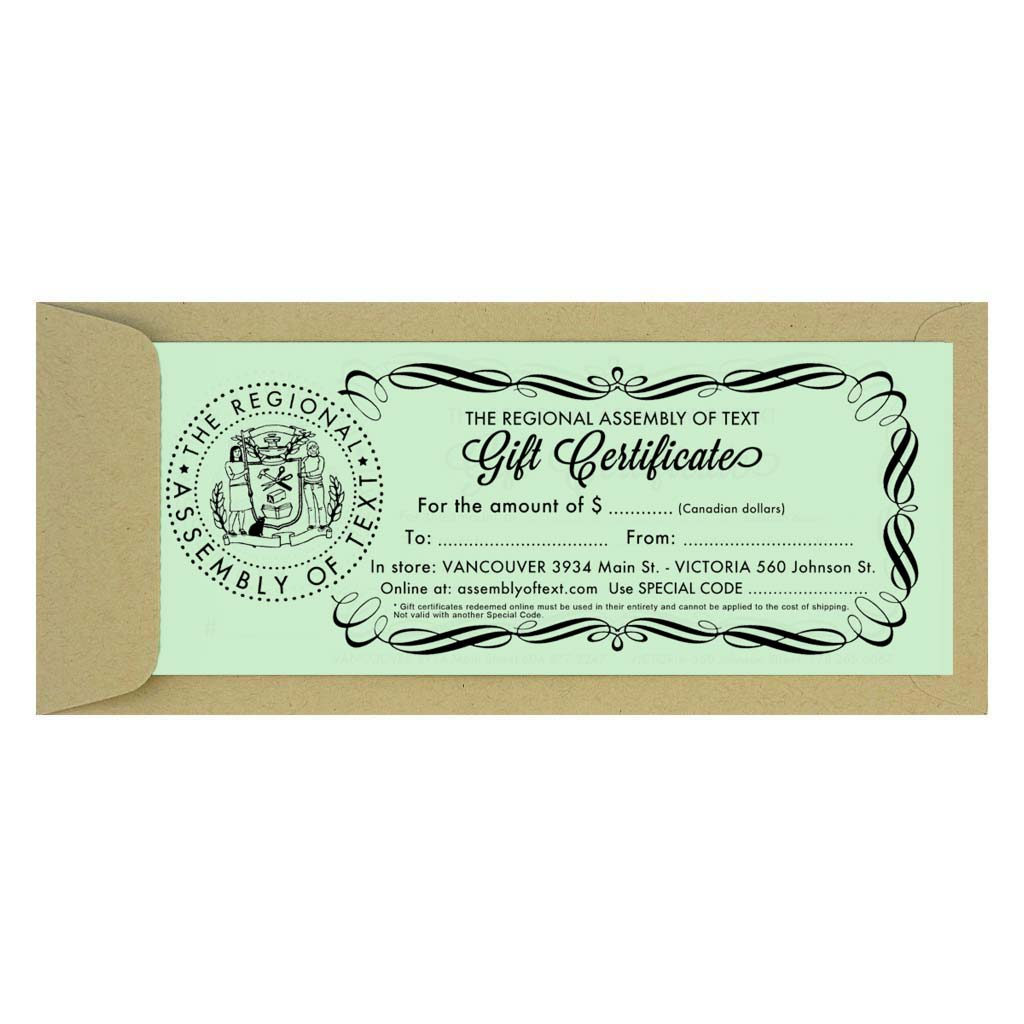 This is a Paper Gift Certificate that will be sent in the mail. It is redeemable in either of our Vancouver or Victoria stores, or in our online shop. Select the desired dollar amount in the drop down menu and we will mail it by post. If you are buying it as a gift and it is being mailed directly to them, please indicated the name & address of the recipient as the shipping address & your name as you would like it to appear on the gift certificate.