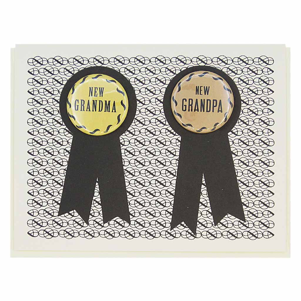 "This card has two prize ribbons side by sided and features two 1¼"" buttons that can be taken off and worn by the recipients. They say 'New Grandma' and 'New Grandpa'. Let us know during checkout if you need 2 new grandmas or 2 new grandpas instead. Card measures 4¼"" x 5½"", comes with a cream envelope & is blank inside. Designed by The Regional Assembly of Text."