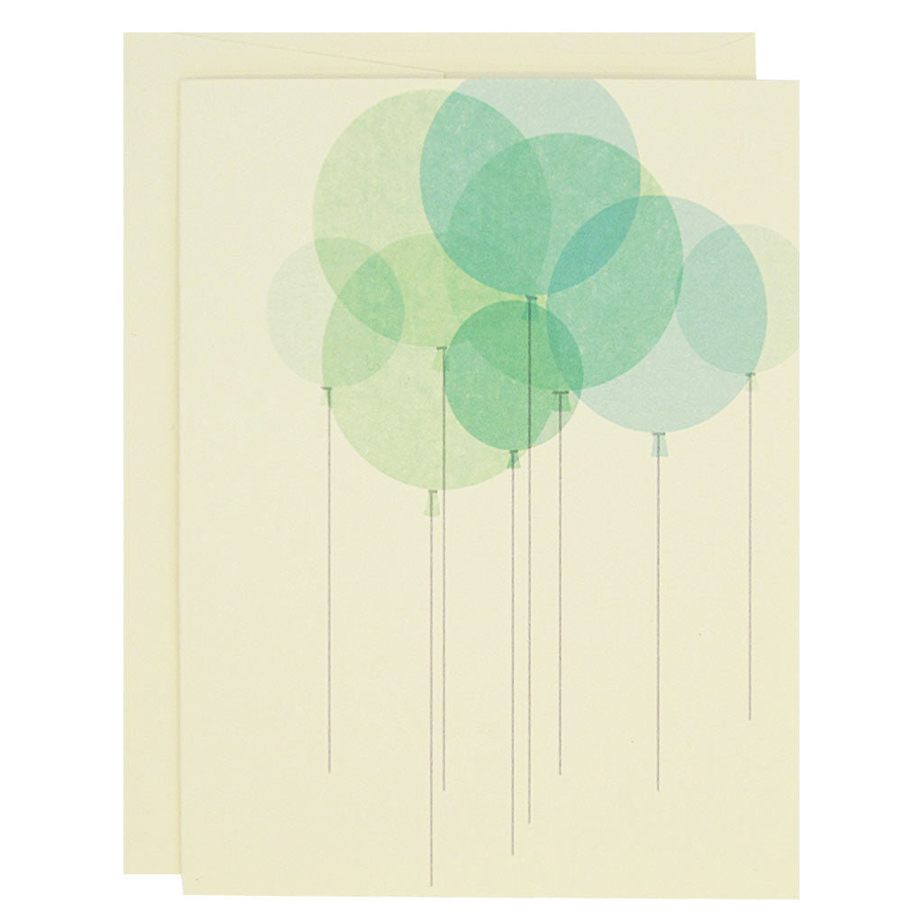 "Celebrate any occasion with these beautiful balloons. This is a collage of a bunch of mint green balloons. Boxed set contains 12 identical cards (blank inside) & 12 cream envelopes. Cards measure 4¼"" x 5½""."