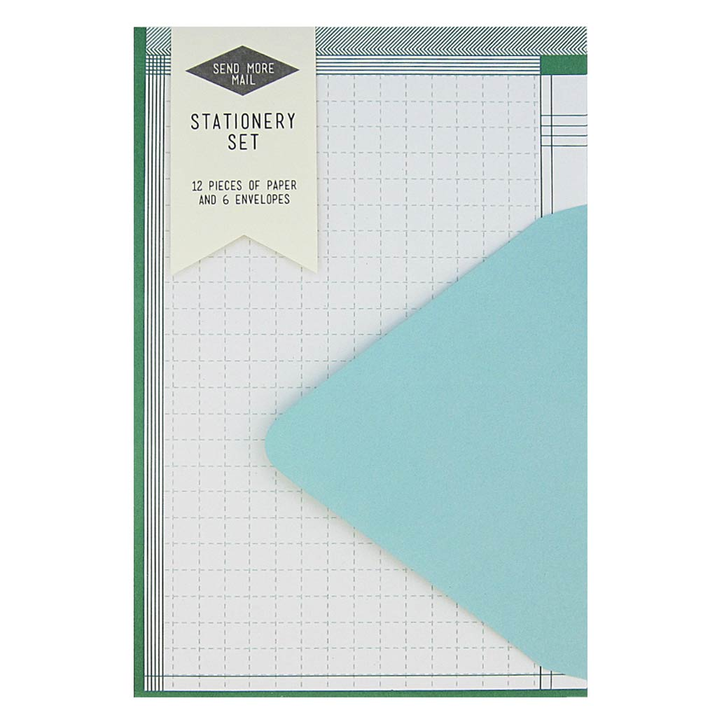 "This stationery set comes with 12 identical green graph pieces of paper and 6 pool blue envelopes. Paper folds in half to fit inside the 4 ¼"" x 5 ½"" envelopes."