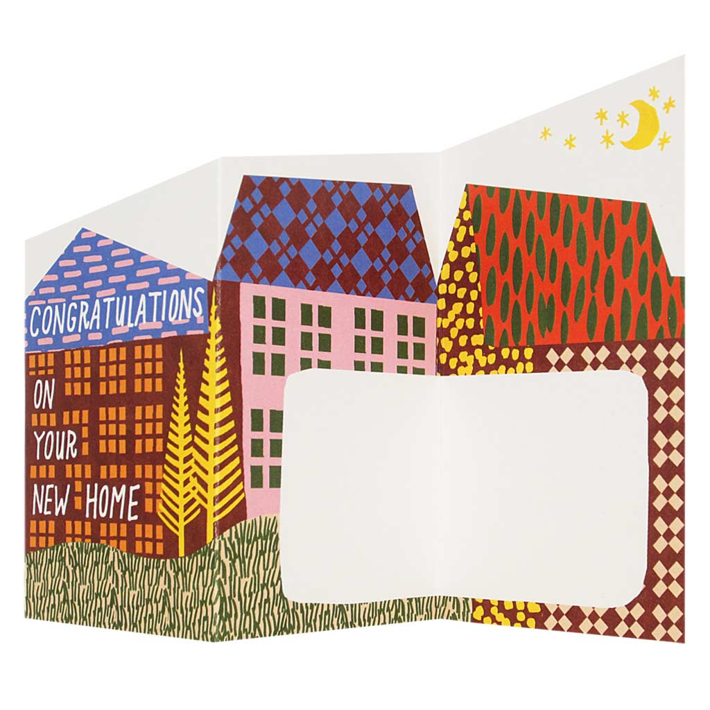 "This sweet little greeting card unfolds into a landscape with space to write a heartfelt message. Collage of a brightly coloured landscape with houses and text that reads 'Congratulations on your new home'. Measures 3"" x 5½"" and comes with an orange envelope."