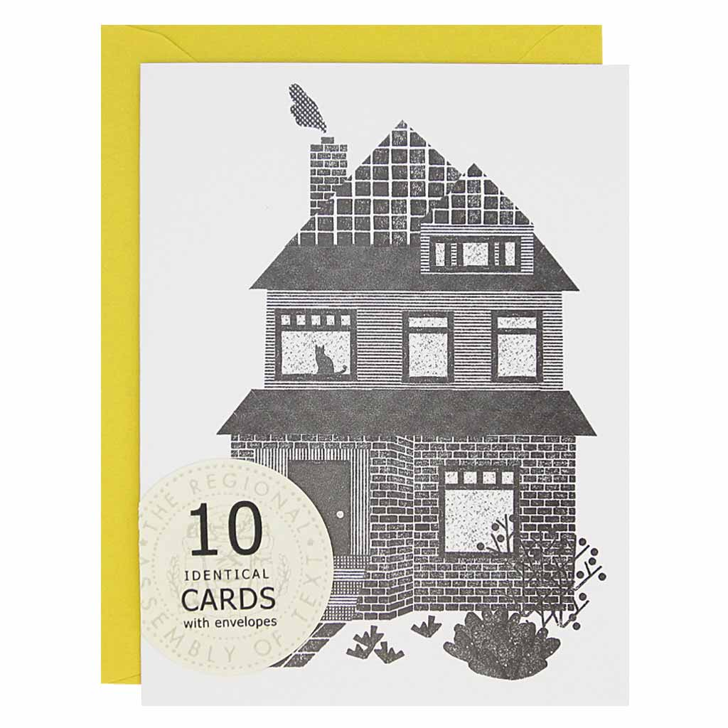 "These cards are perfect for many an occasion: hello, new home, welcome back, just to name a few. There is a lino cut inspired black image of a character house on white card stock.Boxed set contains 10 identical cards (blank inside) & 10 yellow envelopes. Cards measure 4¼"" x 5½""."