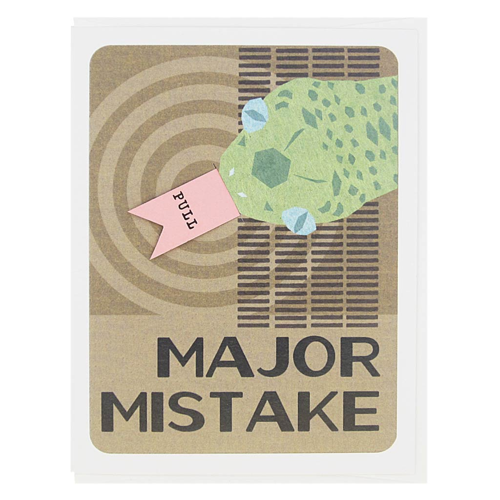 "This sorry card features a collage of a snake on a 60's inspired background and the text reads 'Major Mistake'. There is a pull tab on the card coming out of the snakes's mouth and when you pull it the text reads 'Sssso Ssssorry'. Measures 4¼"" x 5½"", comes with a white envelope & is blank inside. Designed by The Regional Assembly of Text."