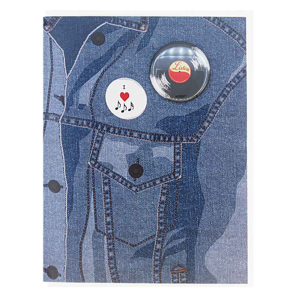 "This greeting card is a collage of a jean jacket with a fake button on the chest of a some music notes and a real button of vinyl record.  The button is 1¼"" and can be taken off and proudly worn by the recipient. Card measures 4¼"" x 5½"", comes with a white envelope & is blank inside. Designed by The Regional Assembly of Text."