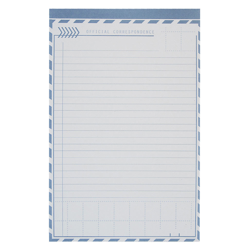 "This notepad is perfect for letter writing or note taking. It has blue lines and a border that looks like a vintage air mail envelope. The text reads ""Official Correspondence. This notepad measures 5 ½ x 8 ½"" and has approximately 50 pages of white recycled paper. Designed by The Regional Assembly of Text."