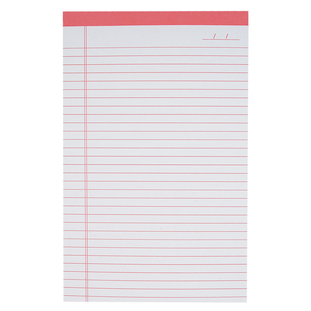 "Perfect for list making, note taking or letter writing. This bright pink lined notepad measures 5 ½ x 8 ½"" and has approximately 50 pages of recycled paper."