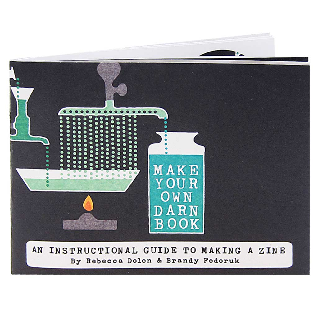 Make Your Own Darn Book is an instructional guide to little bookmaking. It breaks down the process into 10 easy steps from brainstorming to distribution. If you have always wanted to self publish something with the help of glue, tape and a photocopier, this book is for you.