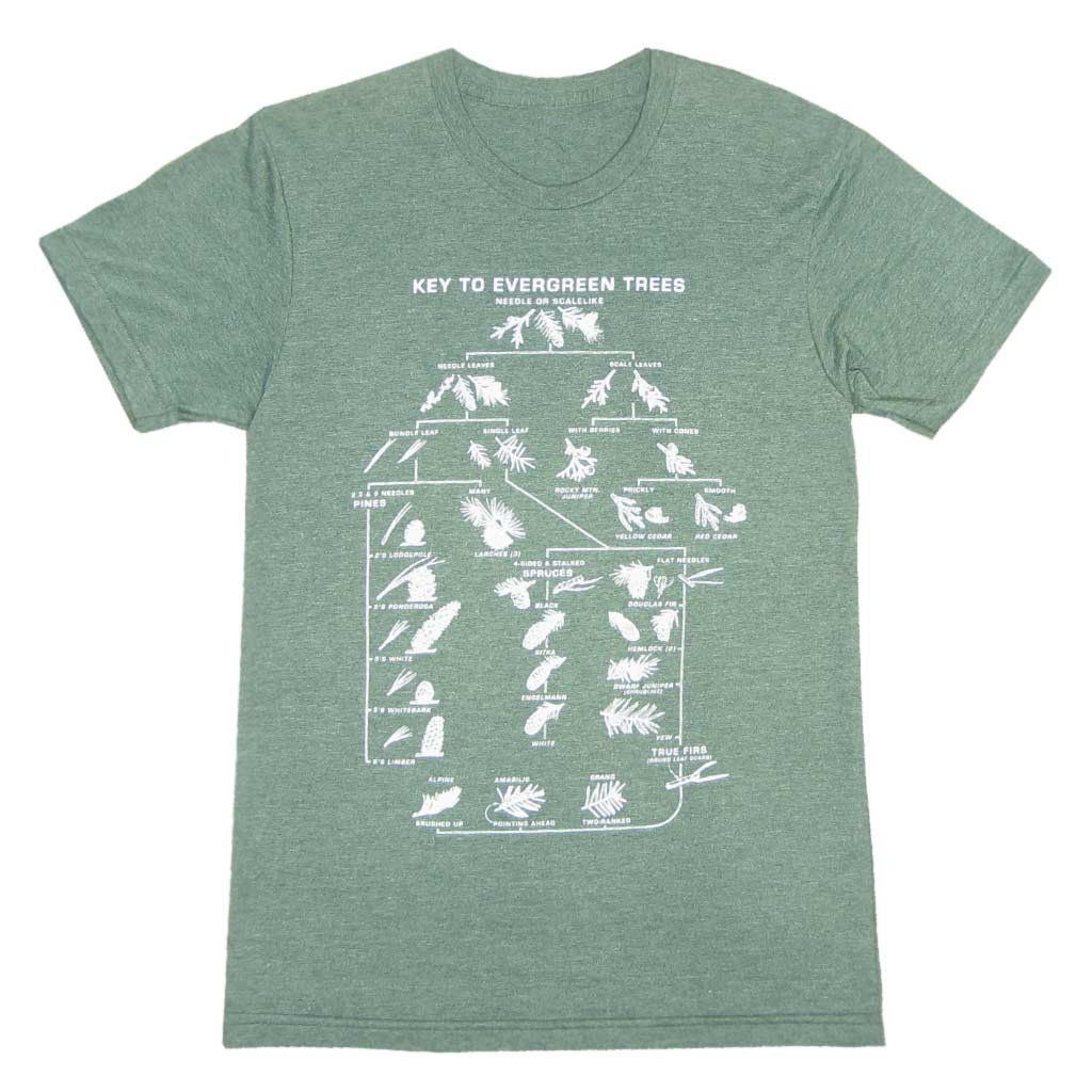 This t-shirt is screen printed with a Key to Evergreen Trees so you can memorize your pine cone shapes or proudly teach others. Printed with mint green ink on American Apparel Poly/Cotton Heather Black t-shirts.
