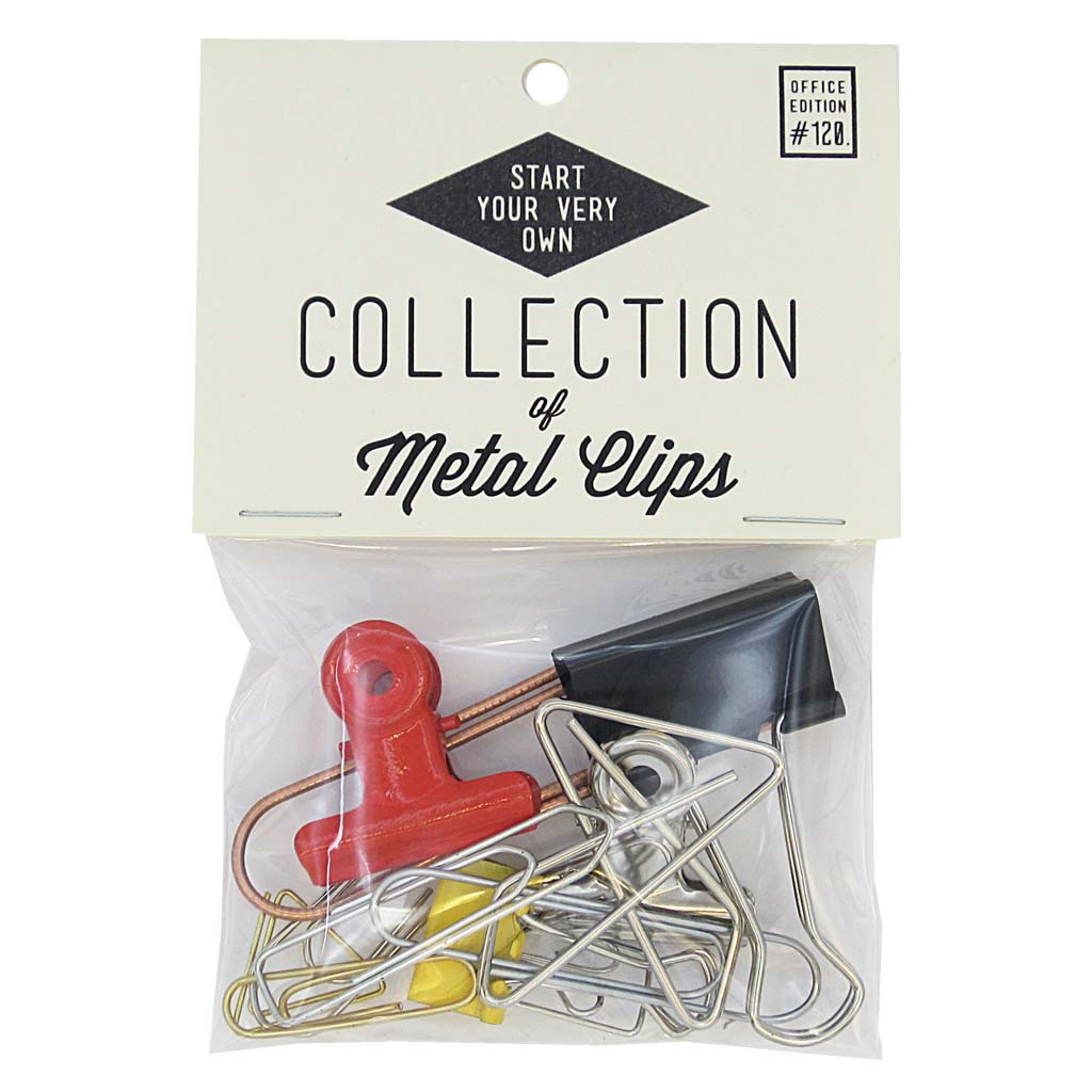 This little bag of clips will help you start your collection or add to any pre-existing one. Clips vary in shape and size. They are paper clips, bulldog clips and other metal clips of interest. Designed by The Regional Assembly of Text.
