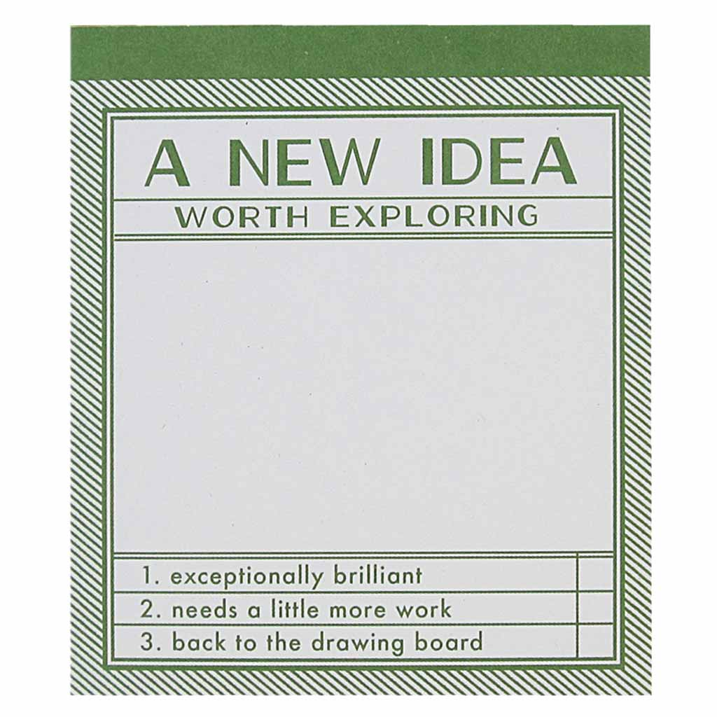 "Jot down all your brilliant ideas with on this practical notepad. This notepad has a dark green border with the text ""A New Idea Worth Exploring"". Measures 3½"" x 4″ and has approximately 50 pages of recycled paper."