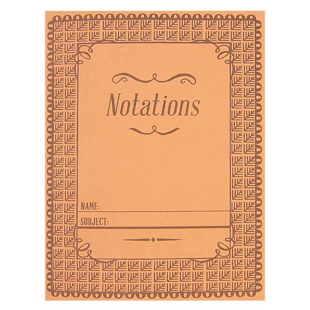 "This little notebook is inspired by vintage school composition books from days gone by. It is coral coloured with a brown pattern and a script text that reads ""Notations"". Contains 14 pages of plain recycled paper. Measures 5 ¼"" x 7"" and is staple bound. Designed by The Regional Assembly of Text."