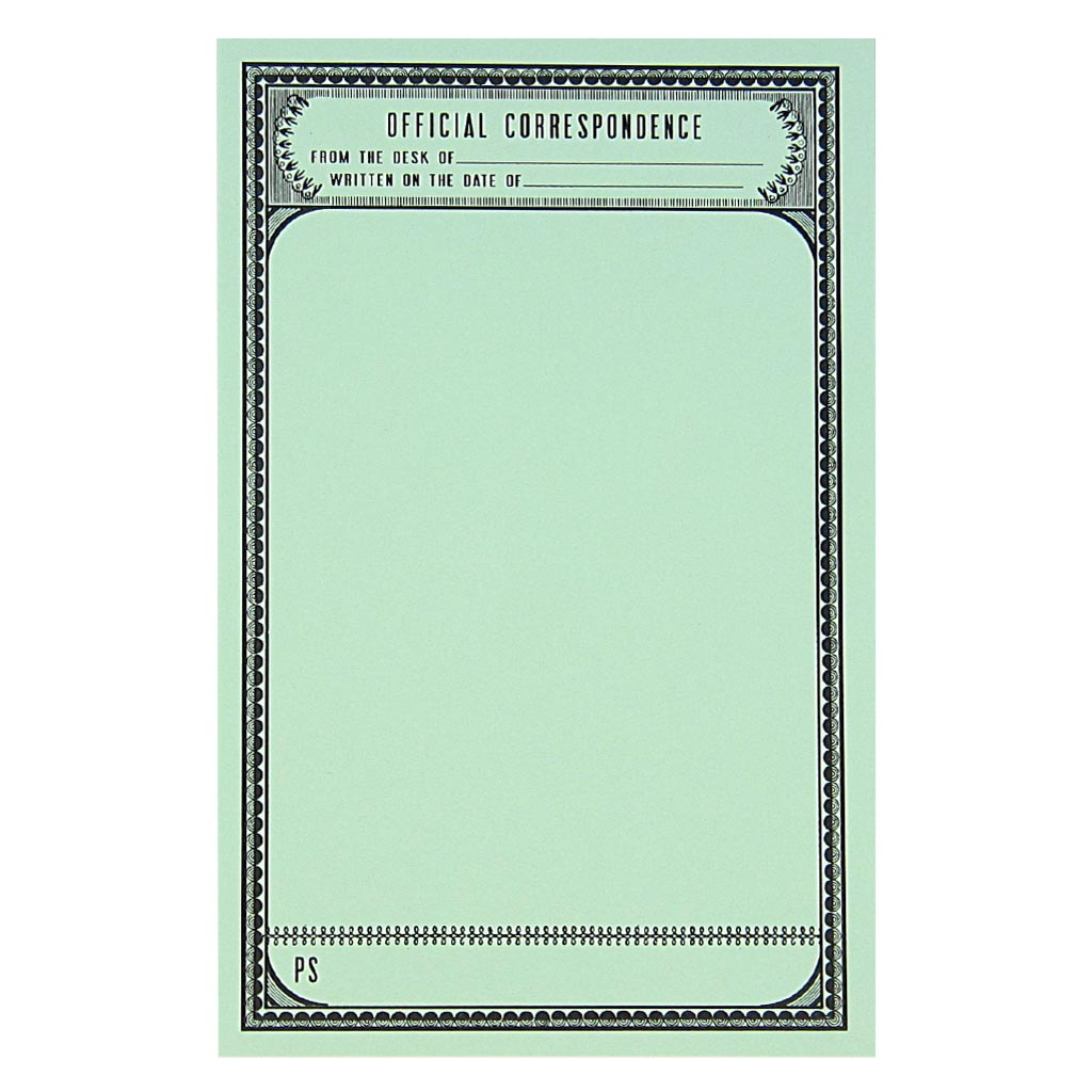 "This stationery set comes with 12 identical patterned pieces of mint green paper with the text 'Official Correspondence' and 6 grey envelopes. Paper folds in half to fit inside the 4 ¼"" x 5 ½"" envelopes."