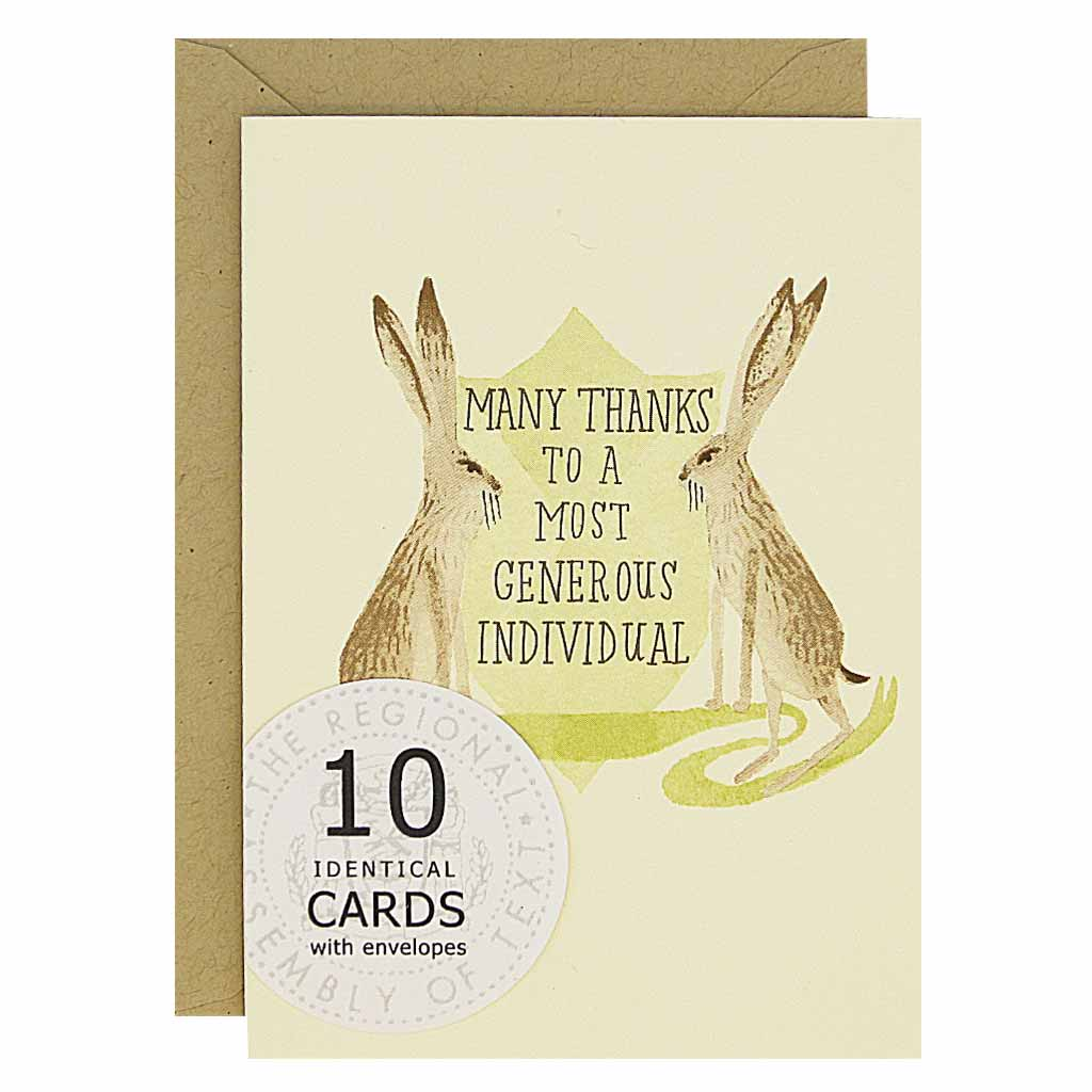 "When thanks are in order, let these handsome rabbits help. Features two watercolour rabbits on either side of a crest that reads...'many thanks to a most generous individual'.Boxed set contains 10 identical cards (blank inside) & 10 kraft envelopes. Cards measure 3½""x 5""."