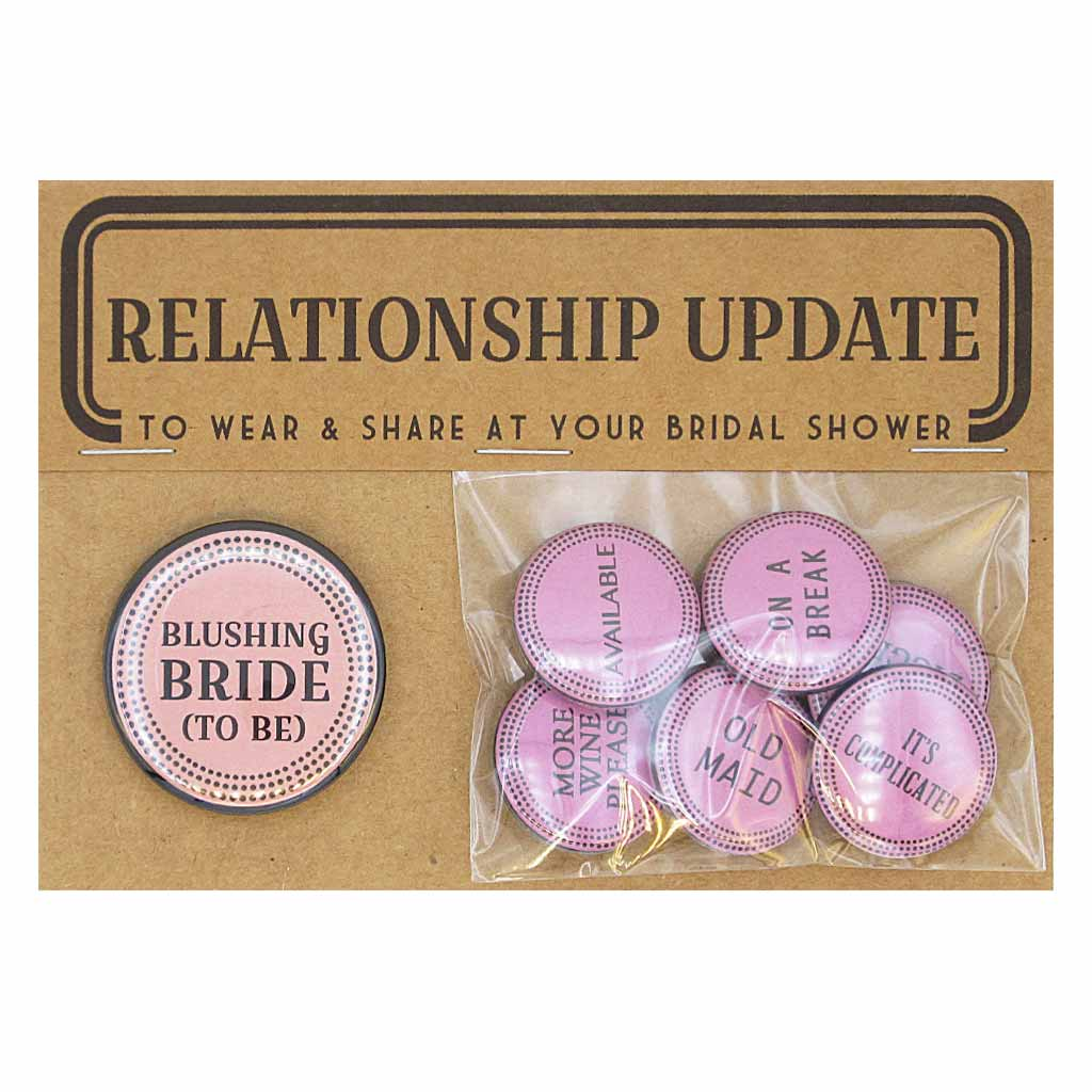 "Give the bride a special button and assign the rest to the bridal shower party. This pack comes with one 1½"" button and six 1"" buttons. Buttons included: Blushing Bride To Be, On a Break, Old Maid, It's Complicated, Gold Digger, More Wine Please and Available."