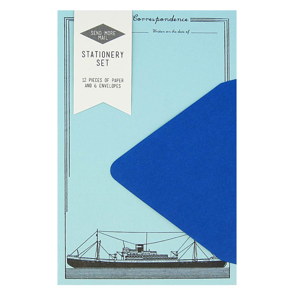 "This stationery set comes with 12 identical ship themed pieces of pool blue paper and 6 royal blue envelopes. Paper folds in half to fit inside the 4 ¼"" x 5 ½"" envelopes."