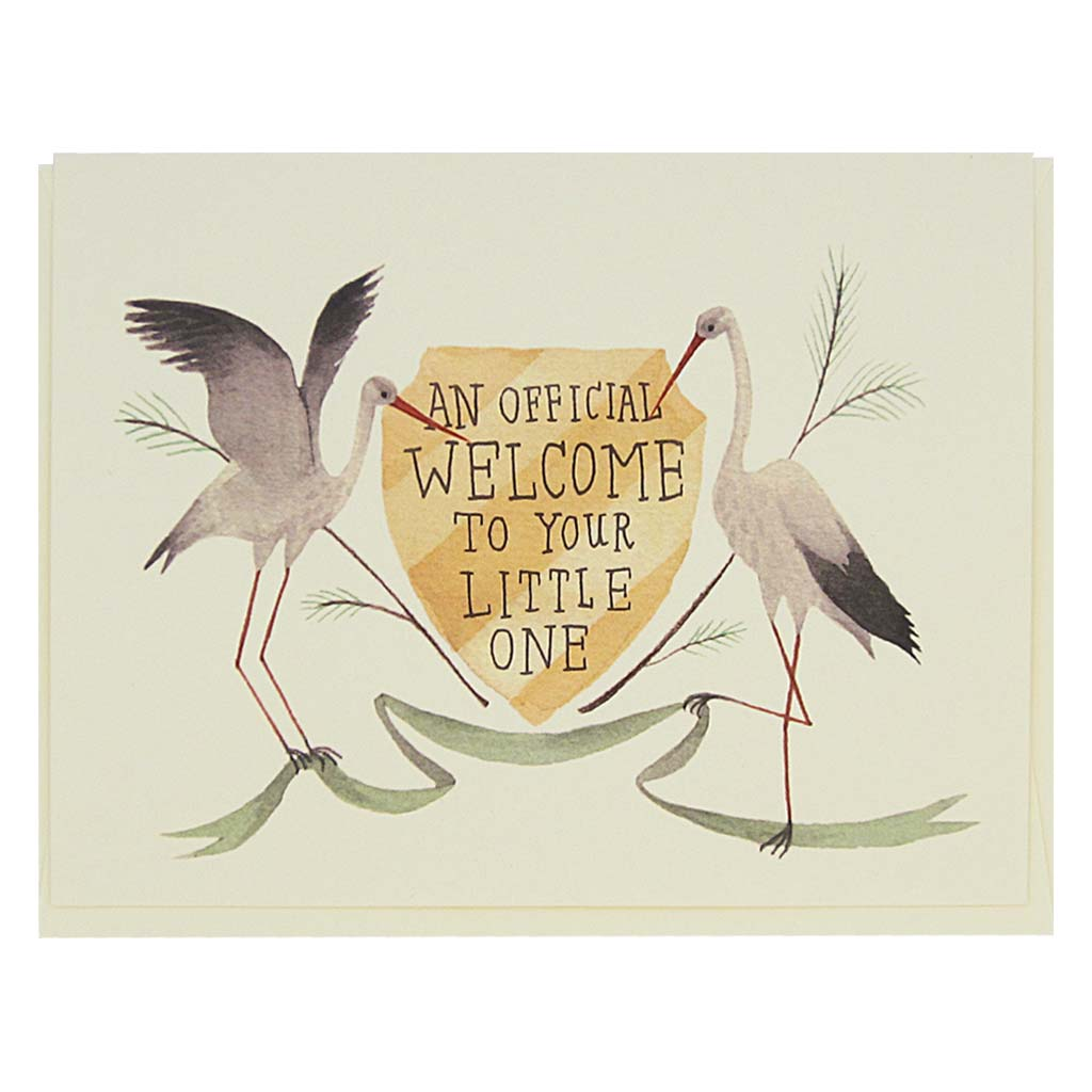 "This beautiful new baby card features a watercolour painting of two storks on either sided of a crest which reads 'an official welcome to your little one'. Card measures 4¼"" x 5½"", comes with a cream envelope & is blank inside. Designed by The Regional Assembly of Text."