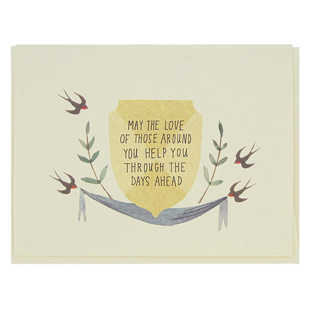 "This beautiful sympathy card features a watercolour painting of some swallows on either side of a crest that reads 'May the Love of Those Around You Help You Trough The Days Ahead'. Card measures 4¼"" x 5½"", comes with a cream envelope & is blank inside. Designed by The Regional Assembly of Text."