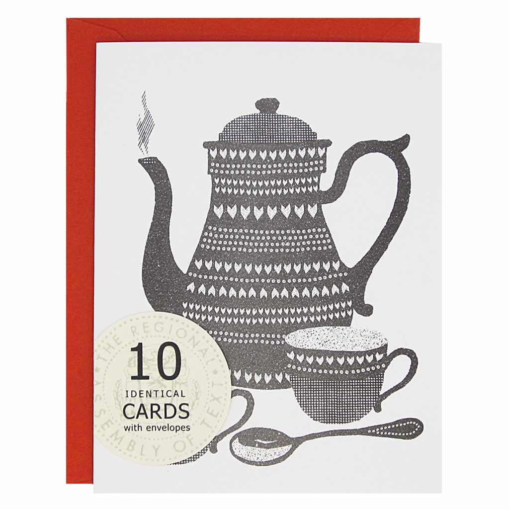 "These little tea party cards are perfect for almost any occasion: friendship, get well, thinking of you, just to name a few. Features a black lino cut inspired tea pot with two tea cups and a spoon.Boxed set contains 10 identical cards (blank inside) & 10 persimmon envelopes. Cards measure 4¼"" x 5½""."