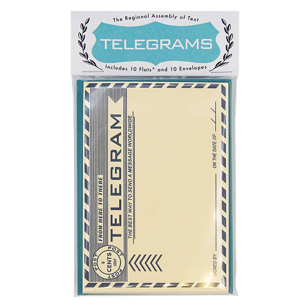 "Send an official telegram with your important news on these classic flats. This set includes 10 identical flats & 10 peacock coloured envelopes and measures 3¾ "" x 5"".½"". Designed by The Regional Assembly of Text."
