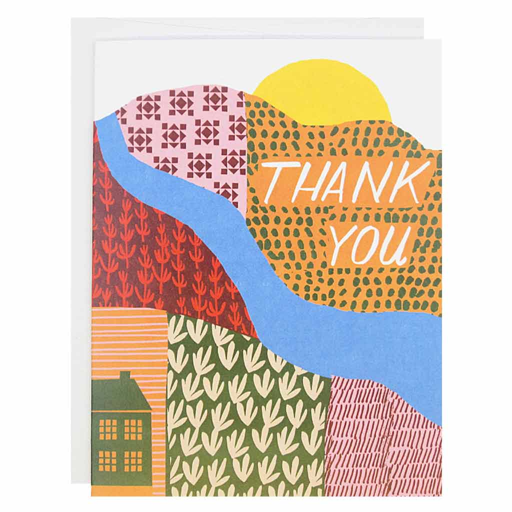 "When thanks are in order, these cards will do just the trick. Features a bright collage of a rolling hills and a river and the sun on the horizon with hand drawn text that reads 'Thank You'.. Boxed set contains 12 identical cards (blank inside) & 12 white envelopes. Cards measure 4¼"" x 5½""."
