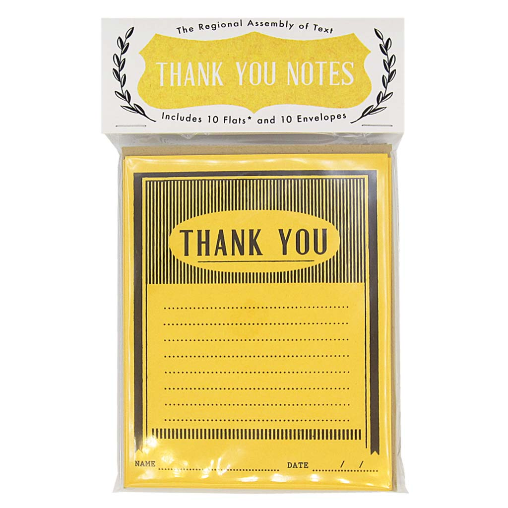 "Officially thank someone with these bright and cheery thank yous. This pack contains 10 flats & 10 kraft coloured envelopes and measures 4¼"" x 5½"". Designed by The Regional Assembly of Text."