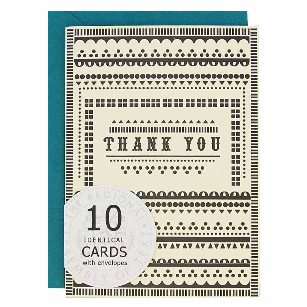 "These pretty little thank yous are a sure crowd pleaser. Card features a black pattern on a cream card with the words 'Thank You' in the middle. Boxed set contains 10 identical cards (blank inside) & 10 peacock envelopes. Cards measure 3½""x 5""."
