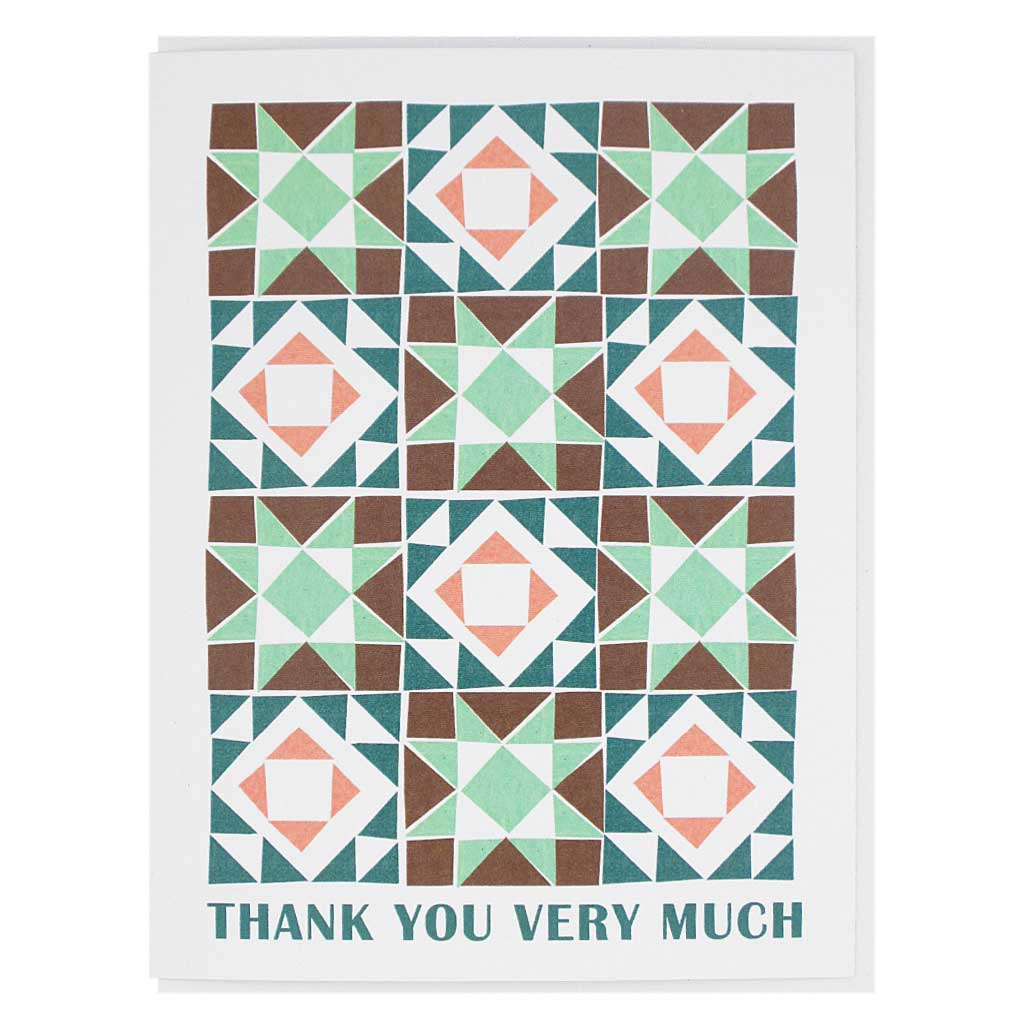 "Say thank you with this pretty quilt pattern card. Measures 4¼"" x 5½"", comes with a white envelope & is blank inside."
