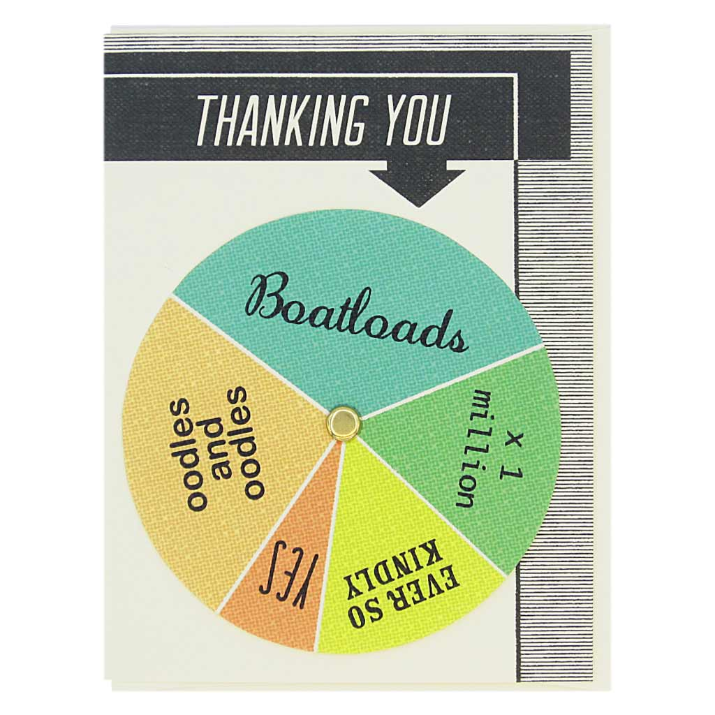 "This thank you card has text at the top that says 'Thanking You' and an arrow pointing to a colourful wheel that you can spin to select different sentiments including… 'Boatloads, Ever so Kindly, Oodles and Oodles. Card measures 4¼"" x 5½"", comes with a cream envelope & is blank inside. Designed by The Regional Assembly of Text."