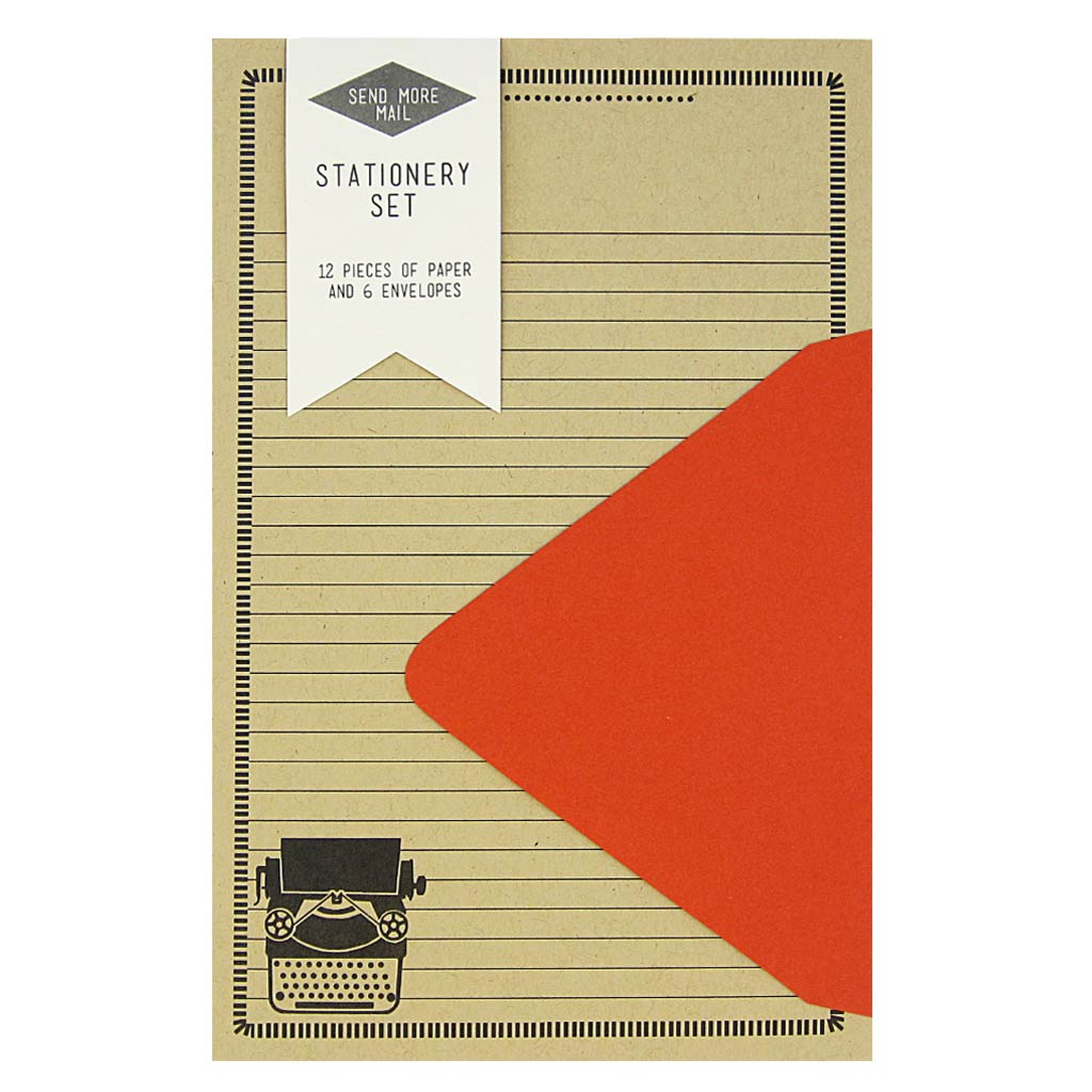 "This stationery set comes with 12 identical typewriter themed pieces of paper and 6 red envelopes. Paper folds in half to fit inside the 4 ¼"" x 5 ½"" envelopes."