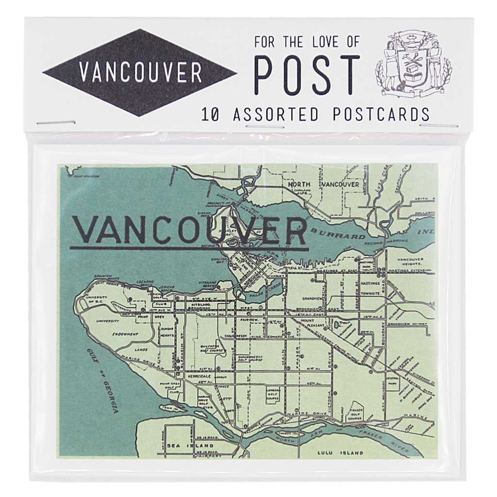 "Let people know you're in Vancouver with this pack of locally themed postcards. Contains 10 postcards, 2 of each design. Postcards measure 4 ¼"" x 5 ½""."