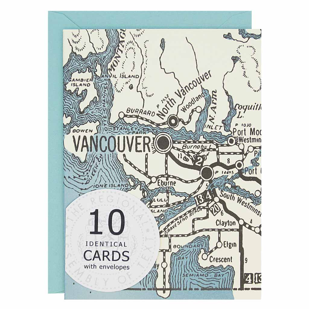 "These Vancouver British Columbia themed cards are perfect writing a little hello. Features a map of the Vancouver area with a blue ocean.Boxed set contains 10 identical cards (blank inside) & 10 light blue envelopes. Cards measure 3½""x 5""."