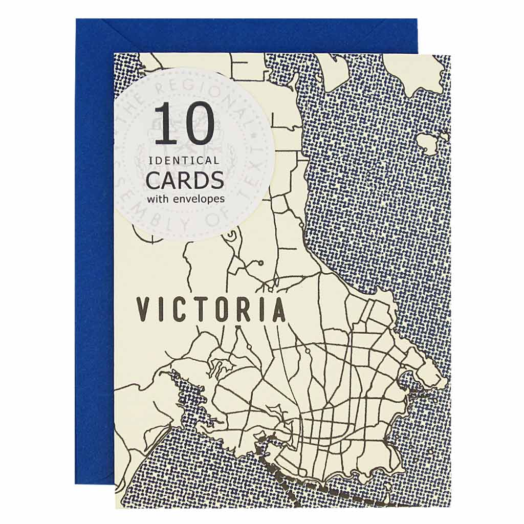 "These Victoria British Columbia themed cards are perfect for sending your regards. Features a map of Victoria BC with blue water surrounding. Boxed set contains 10 identical cards (blank inside) & 10 royal blue envelopes. Cards measure 3½""x 5""."