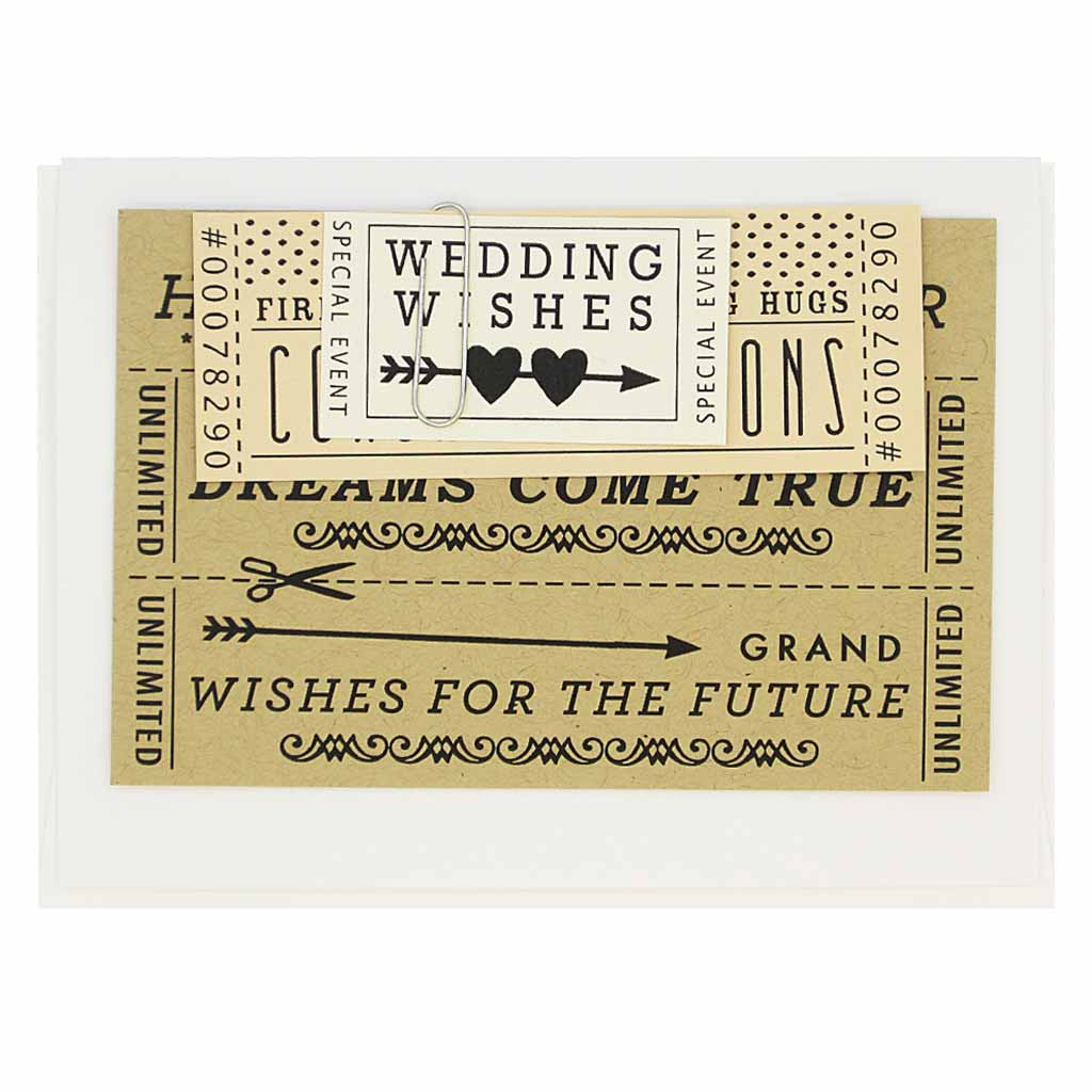 "This wedding greeting card comes with three clever little tickets to be used by the recipient. Tickets, which have coupons for things like firm handshakes, big hugs and best wishes are attached to the card with a handy paperclip. Measures 4¼"" x 5½"", comes with a white envelope & is blank inside. Designed by The Regional Assembly of Text."