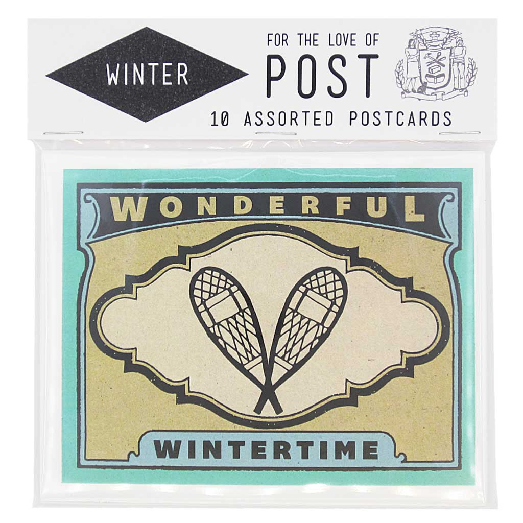 "Brrrr. It's cold outside. This seasonal pack contains 10 winter inspired postcards, 2 of each design. Postcards measure 4 ¼"" x 5 ½""."