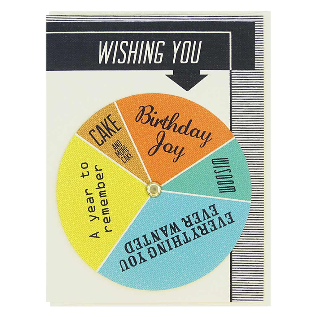 "This birthday card has text at the top that says 'Wishing You' and an arrow pointing to a colourful wheel that you can spin to select different sentiments including…'Birthday Joy, Cake and more cake, A year to remember'. Card measures 4¼"" x 5½"", comes with a cream envelope & is blank inside. Designed by The Regional Assembly of Text."
