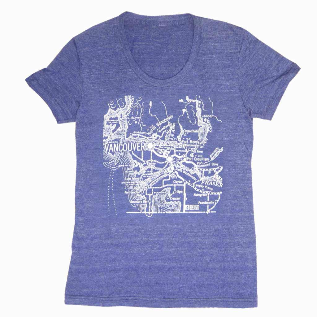 This t-shirt is screen printed with a vintage map of Vancouver so you can find your way. Printed with white ink on American Apparel Tri-Blend Tri-Indigo t-shirts.