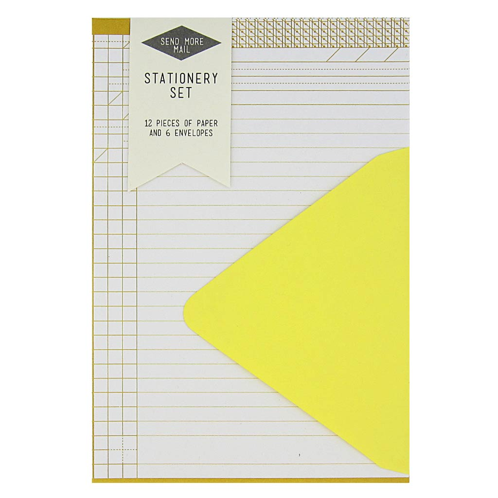 "This stationery set comes with 12 identical yellow graph pieces of paper and 6 sunshine yellow envelopes. Paper folds in half to fit inside the 4 ¼"" x 5 ½"" envelopes."