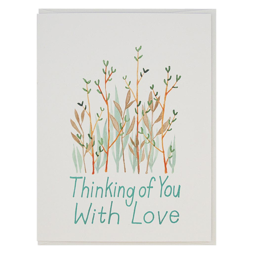 "Let someone know you are thinking of them in good times or in sad times. A lovely watercolour painting of some pretty flowers with the text 'Thinking of You With Love'. Measures 4¼"" x 5½"", comes with a white envelope & is blank inside."