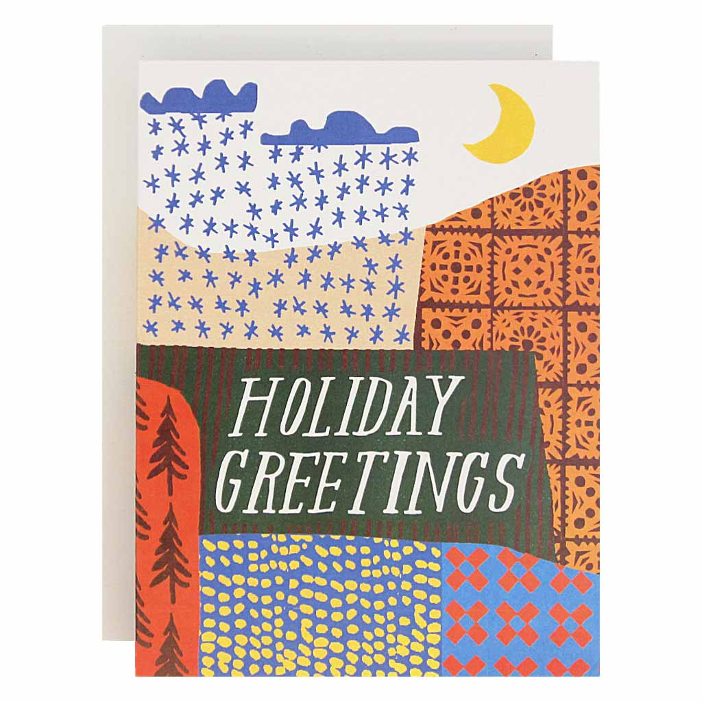 "A sweet, brightly coloured holiday landscape. Boxed set contains 12 identical cards (blank inside) & 12 white envelopes. Cards measure 4¼"" x 5½""."