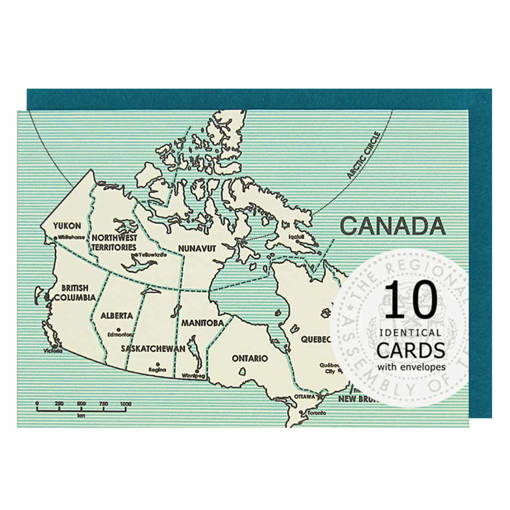The Regional Assembly of Text, a stationery store, in Vancouver B.C. Canada, designs this greeting card. It depicts a map of Canada. This boxed set contains 10 identical cards (blank inside) & 10 light peacock envelopes.