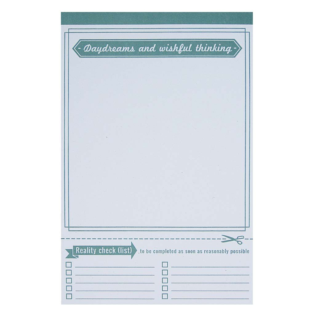 "Do some daydreaming and wishful thinking with this handy notepad. Measures 5"" x 8"" and has approximately 50 pages of recycled paper."