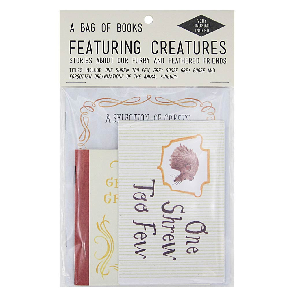 For all the animal lovers. Contains 3 assorted books by artist Rebecca Dolen. Titles include: Forgotten Crests of the Animal Kingdom, One Shrew Too Few, and Grey Goose, Grey Goose.  By Rebecca Dolen