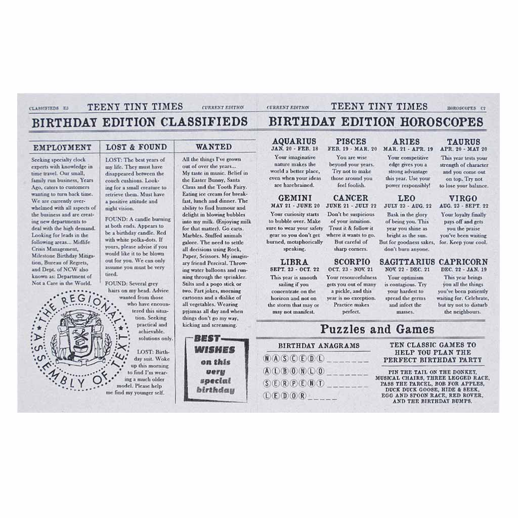 "Horoscopes for the birthday person. Looks like a page from the newspaper.Card measures 4¼"" x 5½"", comes with a white envelope & is blank inside."