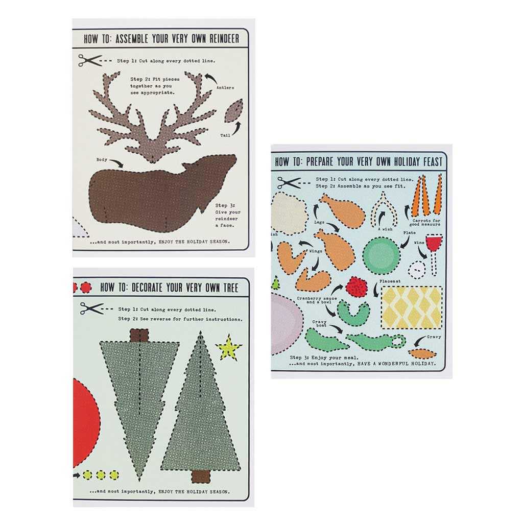 "Perfect for all of us with time on our hands this season. Cut out and assemble this reindeer, holiday feast and christmas tree. Boxed set contains 12 assorted cards (blank inside) & 12 white envelopes. Includes 4 of each design. Cards measure 4¼"" x 5½""."